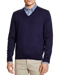 Brooks Brothers Supima Cotton V Neck Sweater Navy