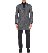 Richard James Herringbone Wool And Alpaca Blend Coat Blue Grey