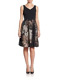 Piazza Sempione Leaf Jacquard Combo A Line Dress Black