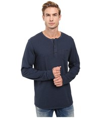 Alternative Apparel Smoked Wash Organic Pima Raw Edge Henley Smoked Sapphire Men's Long Sleeve Pullover Green