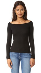 Getting Back To Square One Off Shoulder Long Sleeve Tee Black