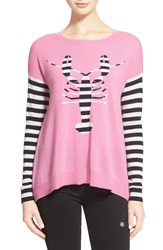 Autumn Cashmere 'Lobster' Stripe Cashmere Boatneck Sweater Candy Cloud Navy