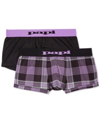 Papi Men's Hanging Plaid Cool Briefs 2 Pack Black Purple