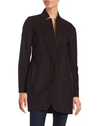 Michael Michael Kors Plaid Wool Blend Coat Red