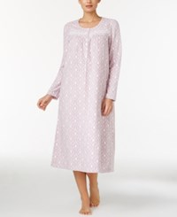 Charter Club Fleece Lace Trimmed Printed Long Nightgown Only At Macy's Pink Damask