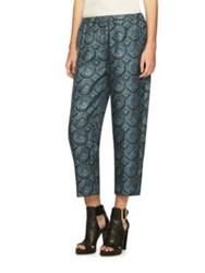 Burberry Wallpaper Print Silk Cropped Trousers Dark Miner