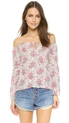 Wayf Cold Shoulder Blouse Garden Print