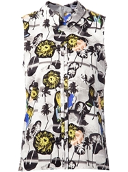 Opening Ceremony Palm Tree Print Sleeveless Shirt Multicolour