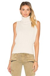 525 America Cable Rib Sleeveless Crop Sweater Cream