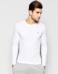 Tommy Hilfiger Flag Long Sleeve Top In Organic Cotton White
