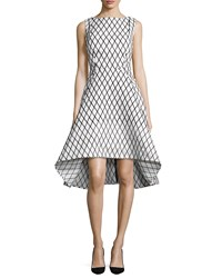 Rachel Gilbert Aria Sleeveless Diamond Print High Low Dress Black White