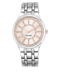 Nine West Crystal Round Dial Quartz Watch Pink