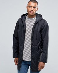 D Struct Long Line Parka Jacket Black