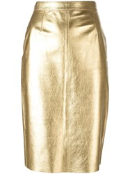 Moschino Vintage Metallic Grey Knee Length Skirt