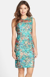 Alex Evenings Floral Lace Sheath Dress Turquoise Multi