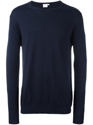 Sunspel Crew Neck Jumper Blue