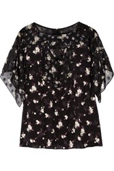 Anna Sui Printed Fil Coupe And Crepe Blouse Black