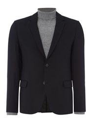 Hugo Men's Ander Textured Blazer With Leather Trim Black