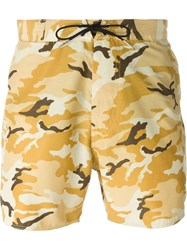 Saint Laurent Camouflage Print Swim Shorts Nude And Neutrals