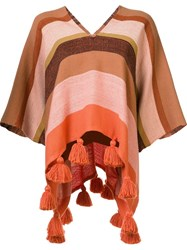 Apiece Apart Striped V Neck Poncho Yellow And Orange