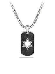 David Yurman Exotic Stone Star Tag Necklace Silver Black