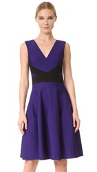 J. Mendel V Neck Dress With Paneled Skirt Mulberry Noir