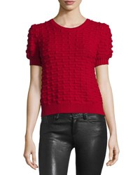 Alice Olivia Blair Puff Sleeve Bobble Sweater Red