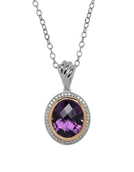Lord And Taylor Amethyst Diamond 14K Yellow Gold Sterling Silver Necklace Silver Gold