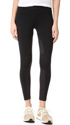David Lerner Moto Leggings With Microsuede Detail Classic Black