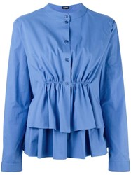 Jil Sander Navy Ruffled Tiered Blouse Blue