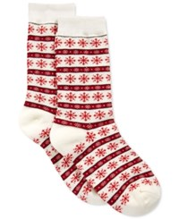 Charter Club Women's Snowflake Fair Isle Socks Only At Macy's Ivory