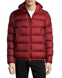 Moncler Chauvon Hooded Puffer Jacket Burgundy Red