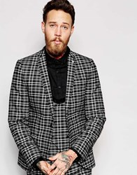 Noose And Monkey Monochrome Check Suit Jacket In Skinny Fit Black