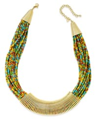 Macy's Gold Tone Chunky Seed Bead Coil Collar Necklace Multi