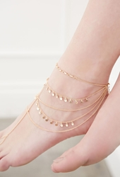 Forever 21 Layered Circle Charmed Foot Chain Matte Gold