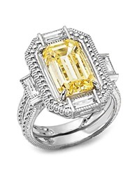 Judith Ripka Baguette Wrap Emerald Cut Double Band Ring With Canary Crystal And Rock Crystal Quartz Yellow Silver