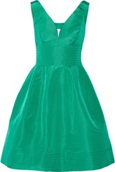 Oscar De La Renta Cutout Silk Faille Dress Jade