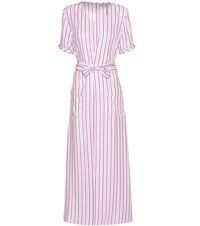 Frame Le Wrap Tie Striped Silk Wrap Dress White