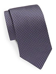 Saks Fifth Avenue Honeycomb Patterned Silk Tie Purple