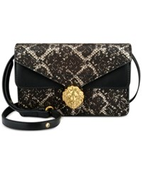 Anne Klein Diana Small Double Flap Crossbody Black Lace
