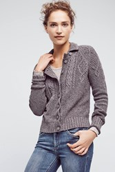 Anthropologie Cabled Buttondown Cardigan Grey
