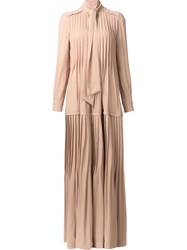 Veronique Branquinho Tie Neck Pleated Dress Nude And Neutrals