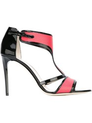 Giorgio Armani T Bar Colour Block Sandals Pink And Purple