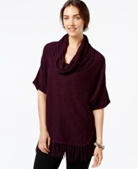 Ny Collection Short Sleeve Cowl Neck Fringe Sweater Purple Marled