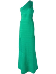 Herve Leger One Shoulder Bandage Gown Green