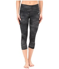Adidas Performer Mid Rise 3 4 Tights Macro Heather Print Dark Grey Heather Matte Silver Women's Workout Gray