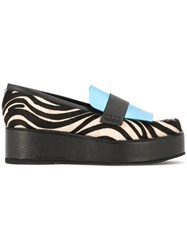 House Of Holland Zebra Print Platform Loafers Black