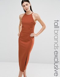 Lavish Alice Tall Double Layer Sleeveless Halter Pencil Dress Caramac Tan