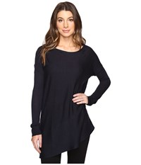 Splendid Asymmetrical Hem Pullover Navy Women's Long Sleeve Pullover