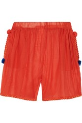 M Missoni Embroidered Cotton And Silk Blend Shorts Tomato Red